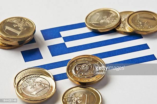 Griechische Flagge und Euro