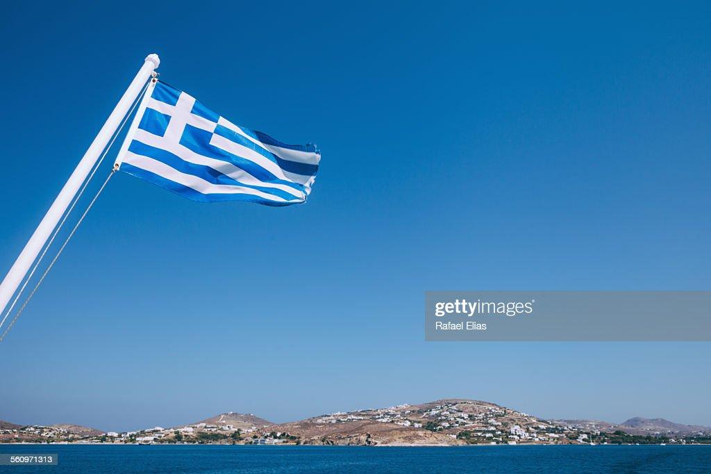 Greek flag in the wind