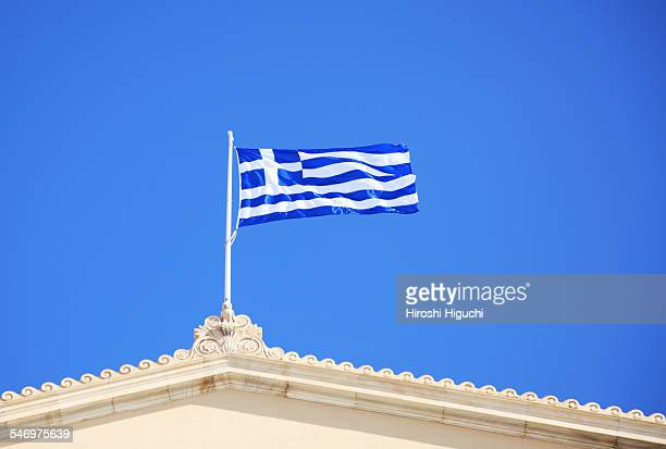 Greek Flag on the Parliament building, Greece, Ath