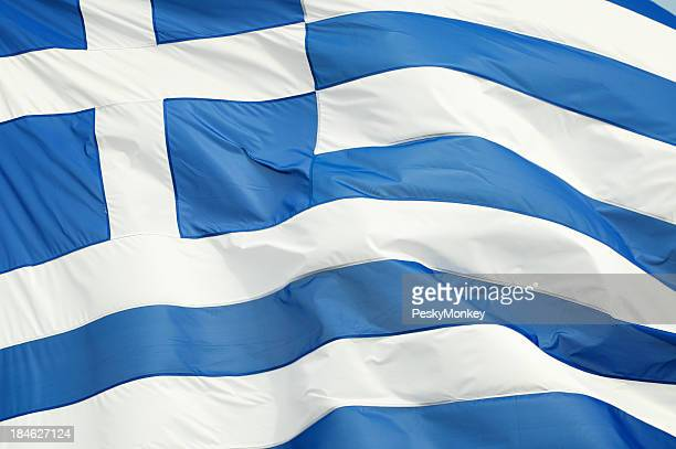 Griechische Flagge winken im Freien Full Frame horizontale Nahaufnahme