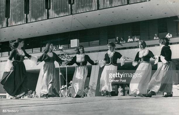 Greek Folk Dancers Folk Festival Ends Dedication Fete Teenage girls from the Hellenic Orthodox Church demonstrate Greek folk dances as a Folk Arts...