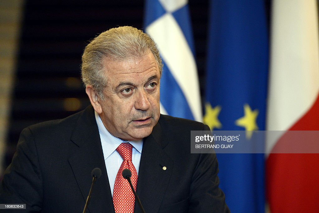 Greek Foreign Affairs Minister Dimitris Avramopoulos gives a press conference with his French counterpart in February 4, 2013 in Paris .