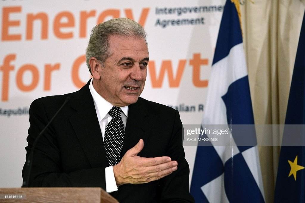 Greek Foreign Minister Dimitris Avramopoulos speaks on February 13, 2013 during the signing ceremony of the Trans Adriatic gas pipeline in Athens. Greece, Italy and Albania signed a deal on backing for the Trans Adriatic Pipeline (TAP) project to carry natural gas from Azeri fields to Europe. AFP PHOTO / ARIS MESSINIS