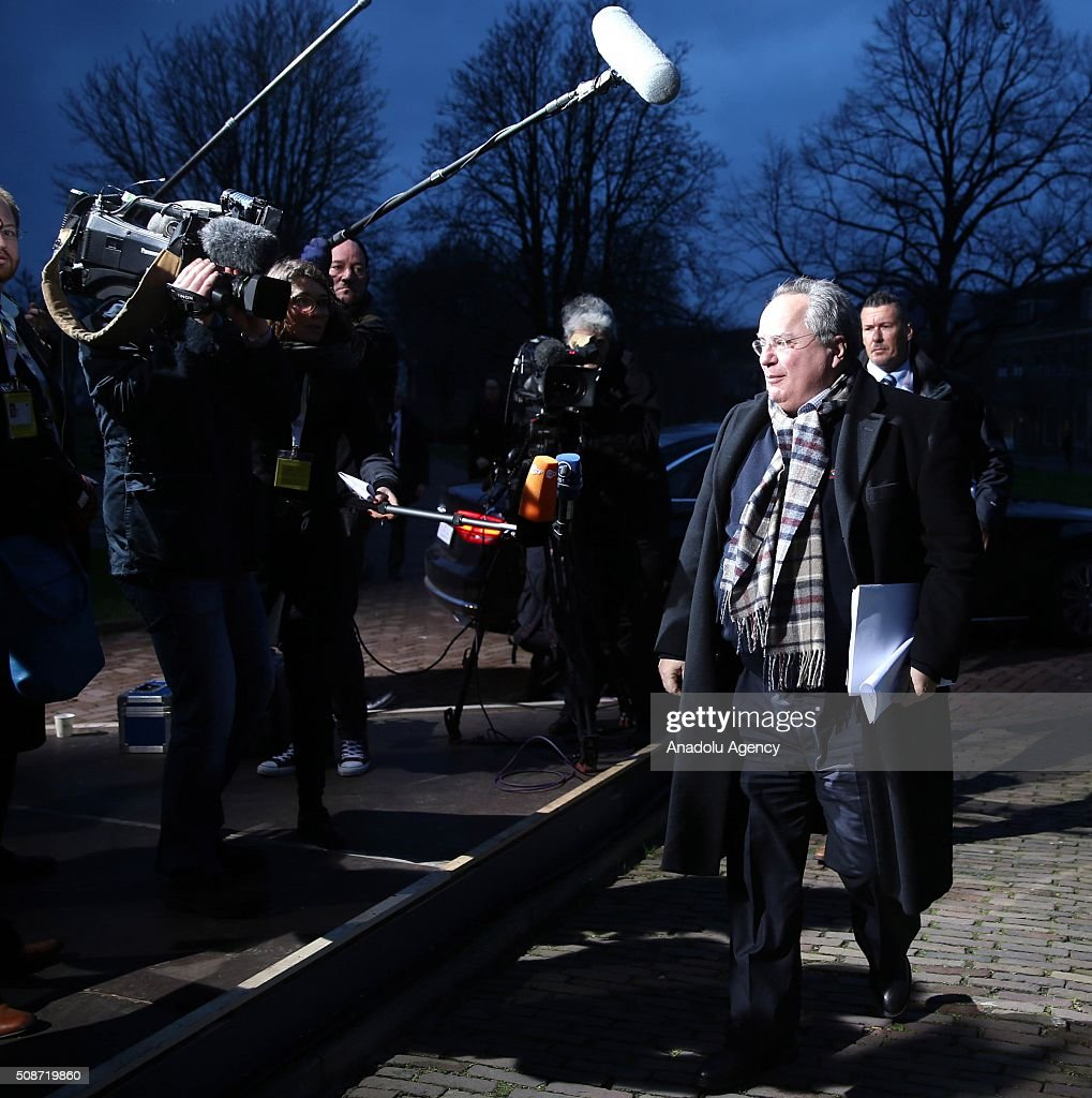 Greek Foreign Minister Nikolaos Kotzias arrives to take part in Informal Gymnich meeting of EU foreign ministers in Amsterdam, Netherlands on February 6, 2016.