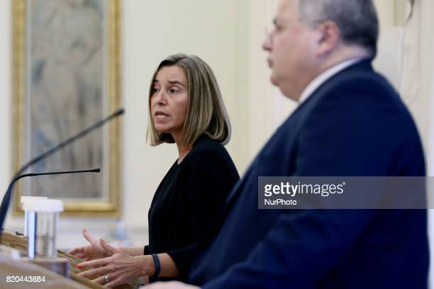 Greek Foreign Minister Nikos Kotzias and Federica Mogherini high Representative of the European Union for Foreign Affairs and Security Policy and...