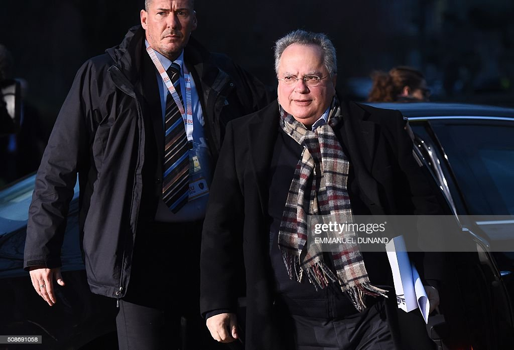 Greek Foreign Minister Nikos Kotzias arrives for a EU council foreign ministers meeting in Amsterdam on February 6, 2016. / AFP / EMMANUEL DUNAND