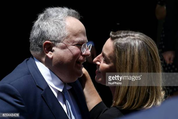 Greek Foreign Minister Nikos Kotzias meets high Representative of the European Union for Foreign Affairs and Security Policy and VicePresident of the...