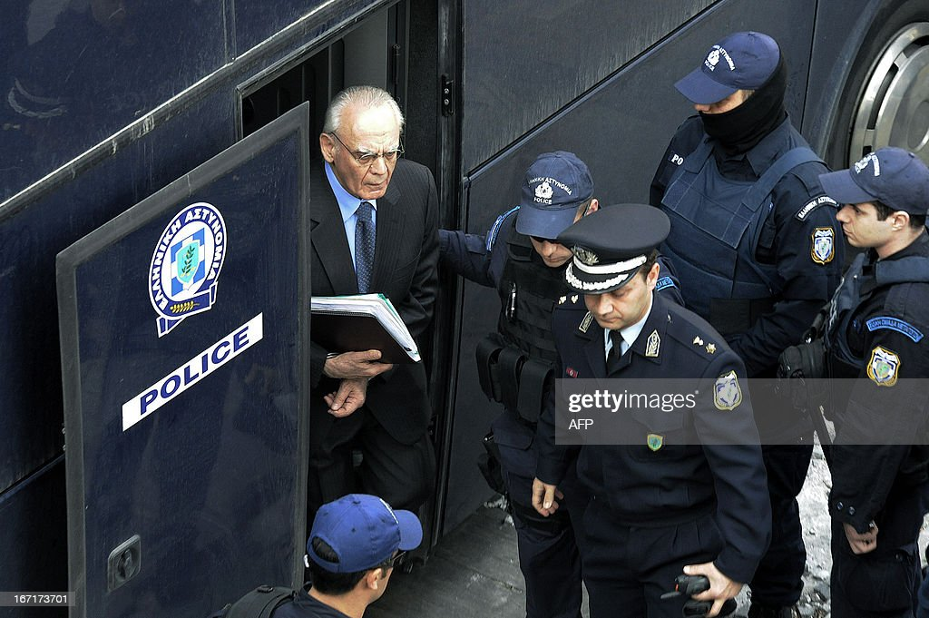 Greek former defence minister, Akis Tsohatzopoulos, arrives for his trial in Athens on April 22, 2013. The trial of a prominent Greek 73-year-old socialist ex-minister, accused of money laundering over controversial arms deals, opened in a criminal court in Athens early on Monday. Facing a sentence of up to 20 years, Tsochatzopoulos is accused of pocketing kickbacks on state contracts to buy a Russian-made anti-missile system and German submarines during his stint as defence minister.