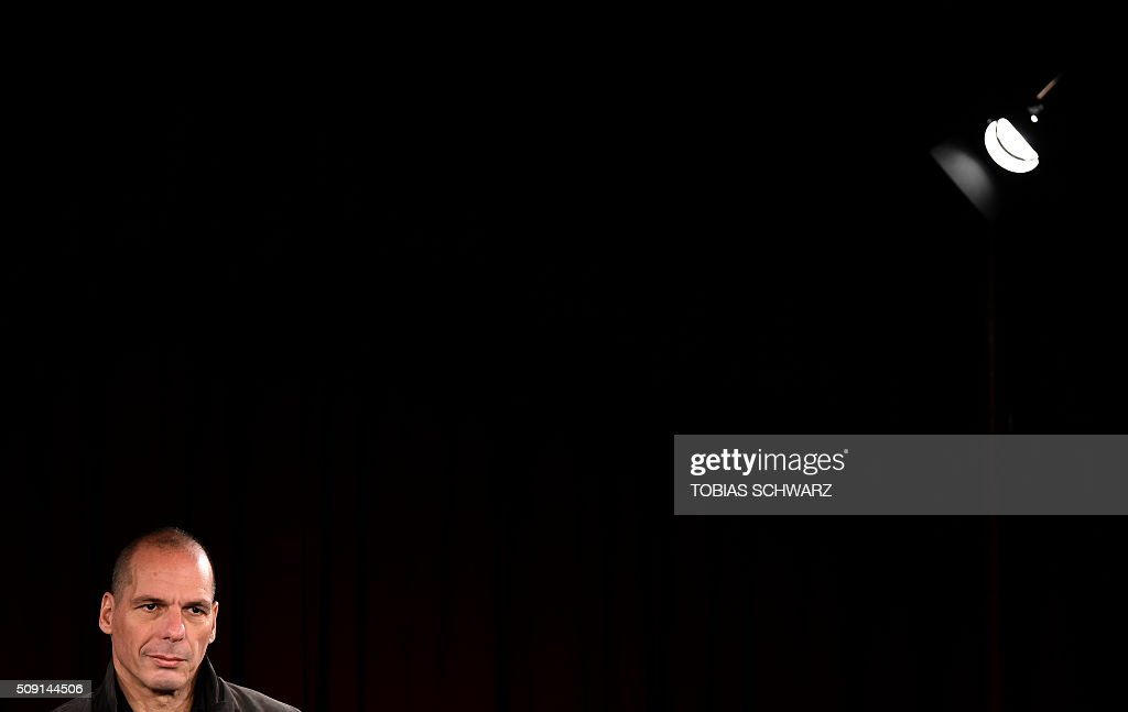 Greek former Finance Minister Yanis Varoufakis addresses a news confernce on the official launch of the Democracy in Europe Movement (DiEM) in Berlin on February 9, 2016. / AFP / TOBIAS SCHWARZ