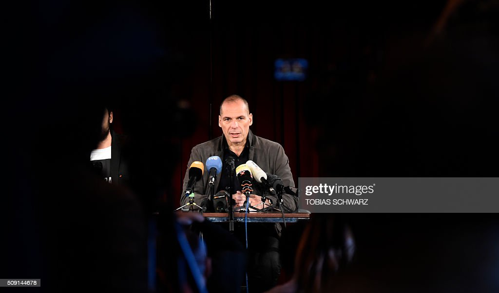 Greek former Finance Minister Yanis Varoufakis addresses a news confernce on the official launch of the Democracy in Europe Movement (DiEM) in the Red Saloon, Volksbuehne Theater, in Berlin, on February 9, 2016. / AFP / TOBIAS SCHWARZ