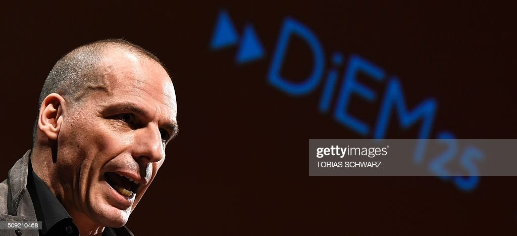 Greek former Finance Minister Yanis Varoufakis addresses the audience during an event to mark the official launch of the Democracy in Europe Movement (DiEM) in Berlin on February 9, 2016. / AFP / TOBIAS SCHWARZ