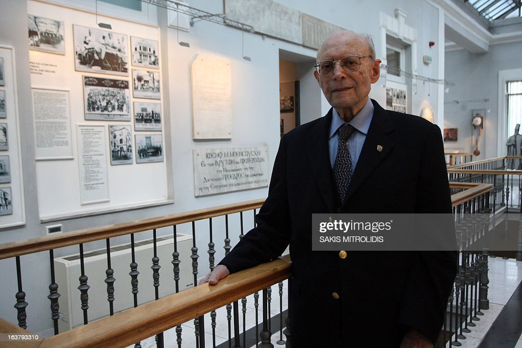 Greek Holocaust survivor Heinz Kounio poses on 16 March,2013 in the Jewish Museum in the northern Greek city of Thessaloniki. Kounio was on board of the first train that left Greece's northern city heading for the Auschwitz concentration camp on March 15, 1943. Greece's second largest city commemorated the 70th anniversary of the first deportation of its Jews to Auschwitz. Around 1,000 people walked in a silent march to the old railway station where the first train left Greece's northern city for the notorious death camp on March 15, 1943. Flowers were thrown onto the rails after the march, and the Thessaloniki Jewish Community Choir gave a performance.
