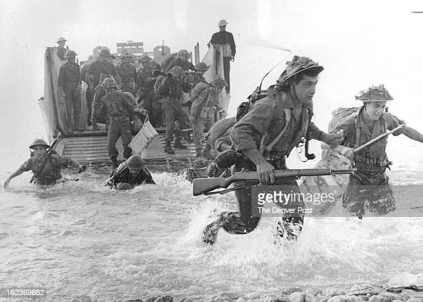 SEP 28 1965 Greek Infantrymen Splash Ashore From Landing Boats During Joint Exercise The amphibious assault on coast of Greece was part of Exercise...