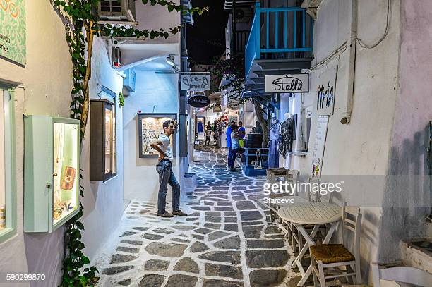 Greek Isles at night - Town of Naoussa