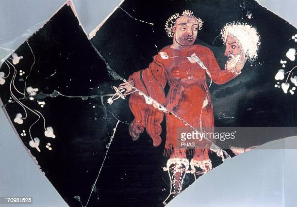 Greek krater dated c 350 BC Detail depicting an actor removing his mask after finishing his performance