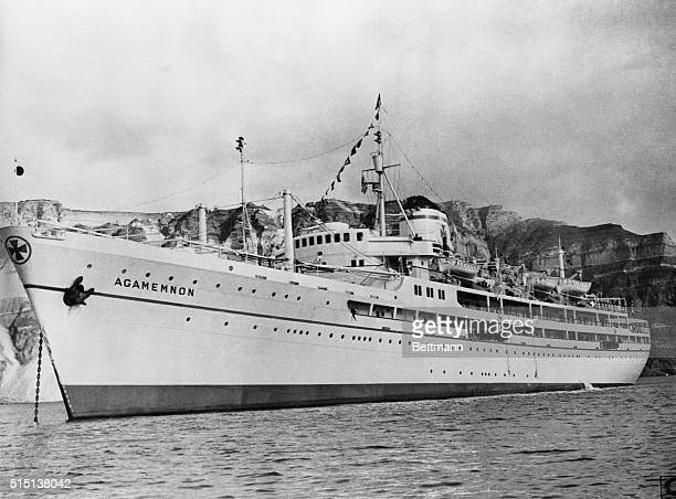 Greek luxury liner 'Agamemnon' placed at the disposal of the King and Queen of Greece by the owners—the Nomikes Lines—free of charge for a Royal...