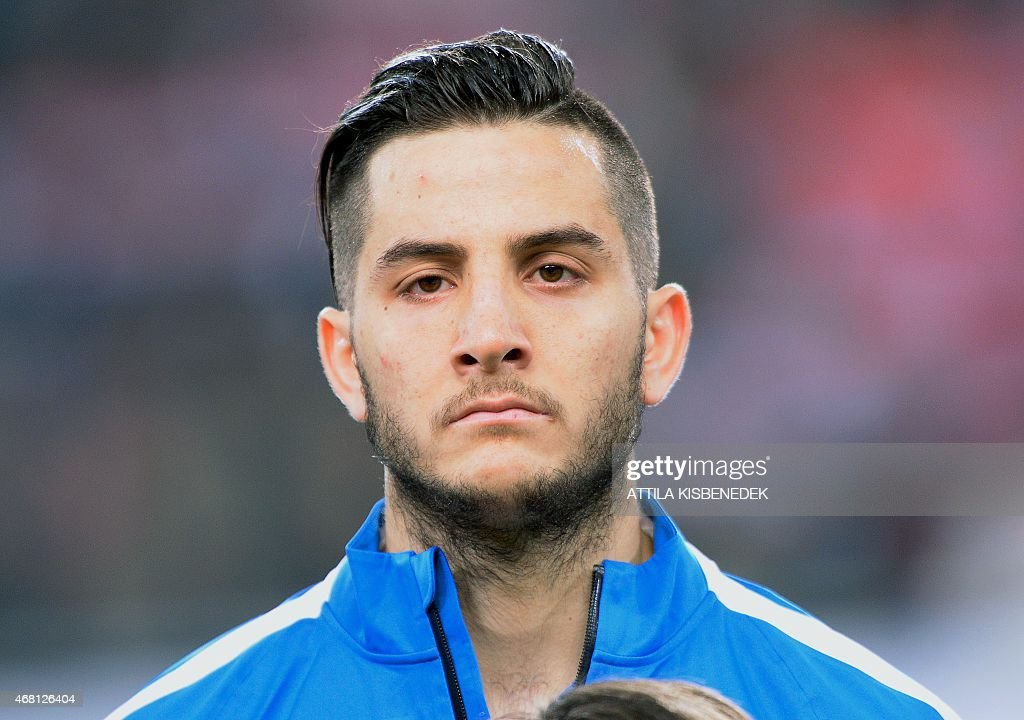 Greek midfielder Andreas Samaris is pictured prior to a Euro 2016 qualifying football match between Hungary and Greece at the Grupama Arena in Budapest on March 29, 2015.