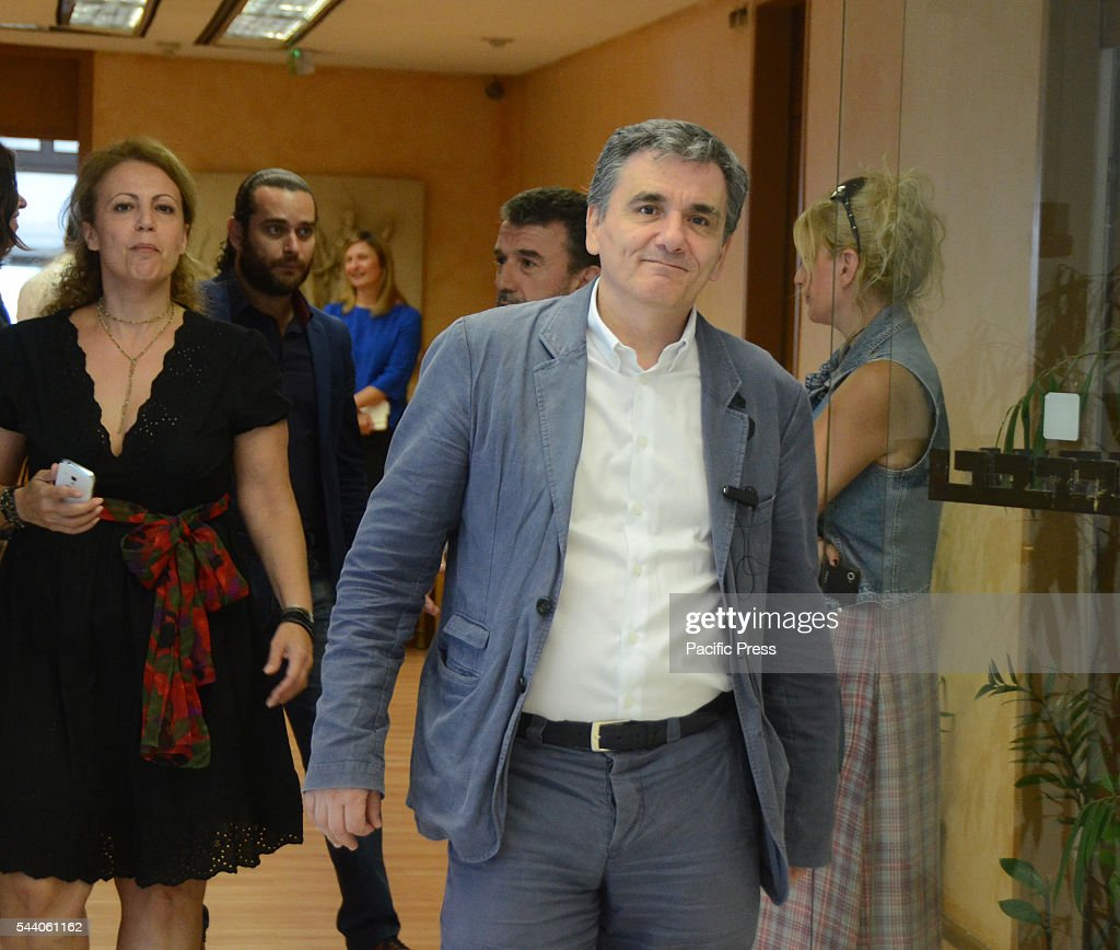 Greek Minister of Finance Euclid Tsakalotos arrives at the meeting. Minister of Finance Euclid Tsakalotos meets with German Minister for Economic Affairs and Energy in the Greek ministry of Finance in Athens.