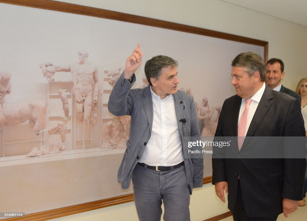 Greek Minister of Finance Euclid Tsakalotos meets with Sigman Gabriel. Minister of Finance Euclid Tsakalotos meets with German Minister for Economic Affairs and Energy in the Greek ministry of Finance in Athens.