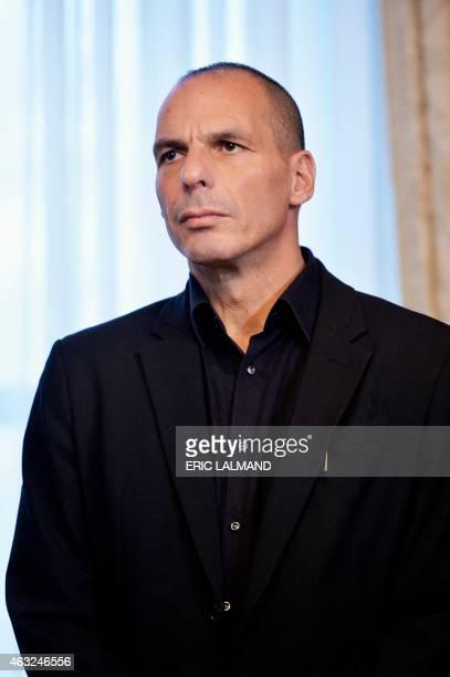 Greek Minister of Finance Yanis Varoufakis looks on during meeting between Belgian Prime Minister and Greek Prime Minister on February 12 2015 at the...