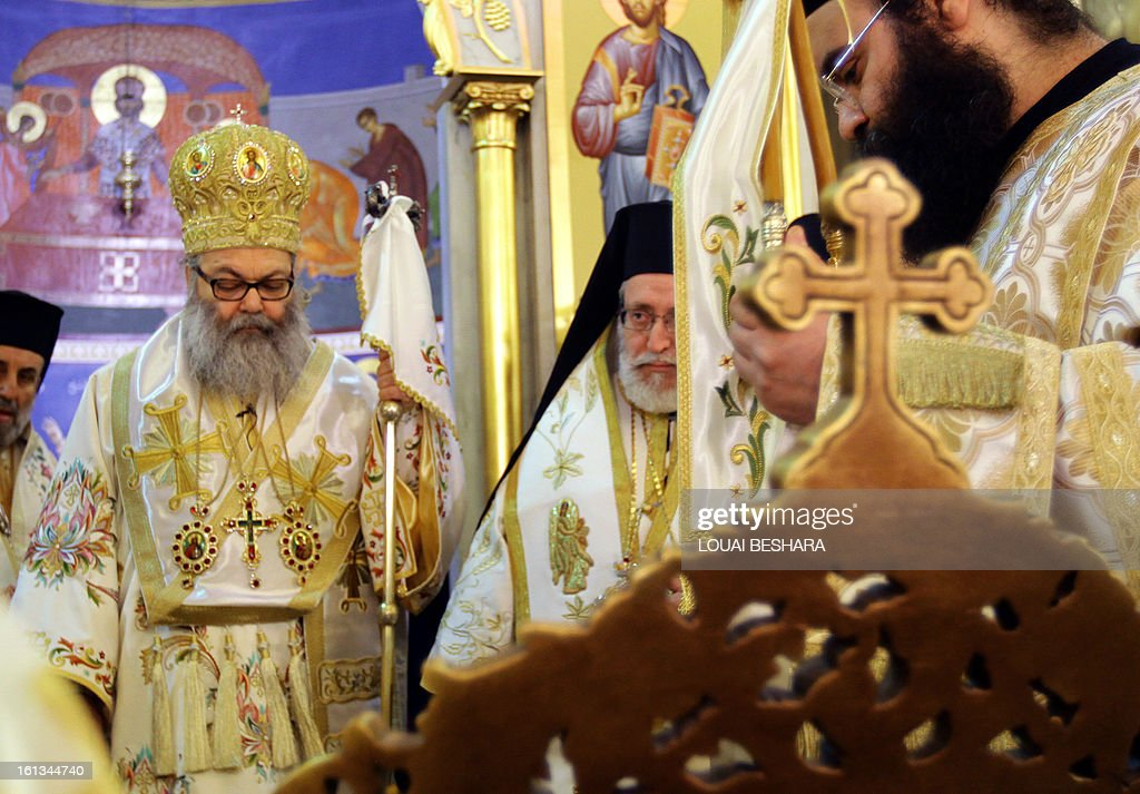 Greek Orthodox leader Yuhanna X Yazigi is seen during his enthronement as the Greek Orthodox Patriarch of Antioch and All the East at the Holy Cross Church, in the Qasaa district of Damascus, on February 10, 2013. Yuhanna X Yazigi was chosen as the Patriarch of Antioch and All the East on December 17, replacing Ignatius IV Hazim who died that month. Christians make up about five percent of the population in Syria, where rebels and forces loyal to Syrian President Bashar al-Assad have been locked in a civil war the UN says has killed more than 60,000 people.