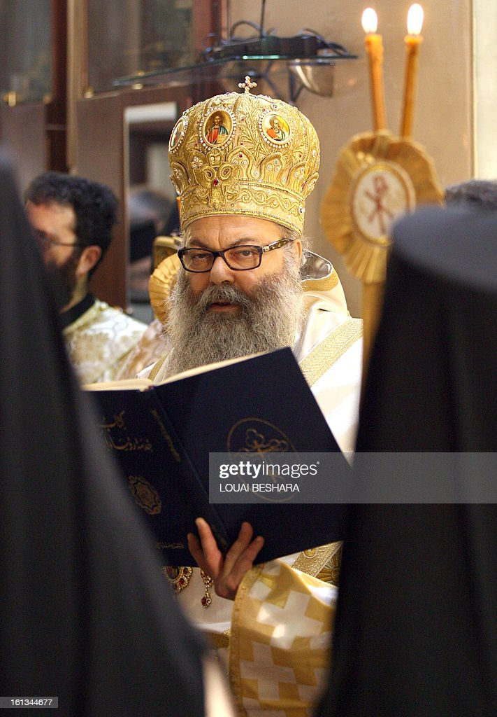 Greek Orthodox leader Yuhanna X Yazigi looks on during his enthronement as the Greek Orthodox Patriarch of Antioch and All the East at the Holy Cross Church, in the Qasaa district of Damascus, on February 10, 2013. Yuhanna X Yazigi was chosen as the Patriarch of Antioch and All the East on December 17, replacing Ignatius IV Hazim who died that month. Christians make up about five percent of the population in Syria, where rebels and forces loyal to Syrian President Bashar al-Assad have been locked in a civil war the UN says has killed more than 60,000 people.
