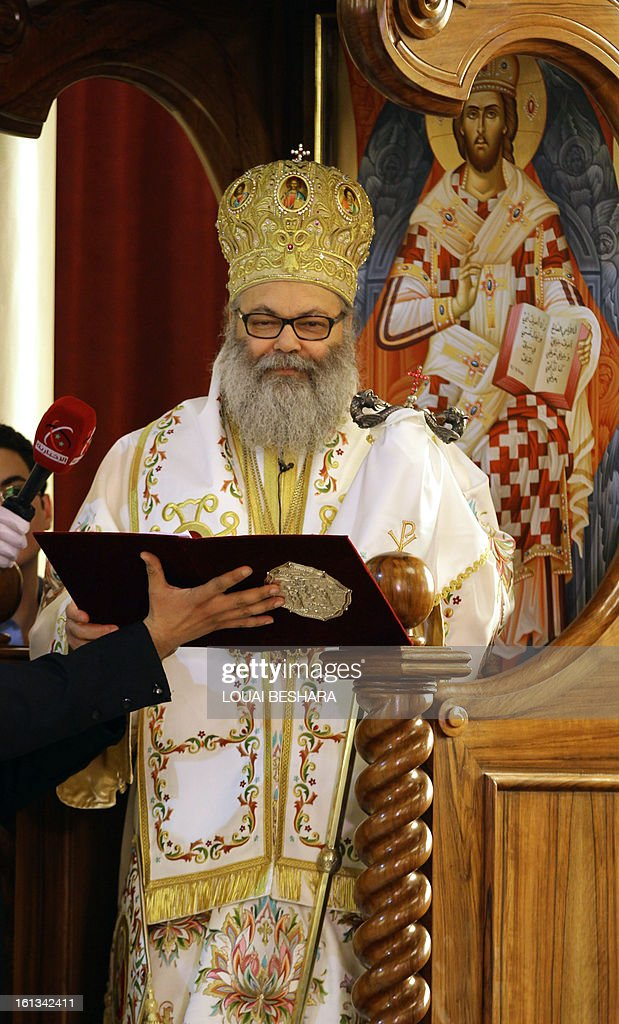 Greek Orthodox leader Yuhanna X Yazigi reads from the liturgy during his enthronement as the Greek Orthodox Patriarch of Antioch and All the East at the Holy Cross Church, in the Qasaa district of Damascus, on February 10, 2013. Yuhanna X Yazigi was chosen as the Patriarch of Antioch and All the East on December 17, replacing Ignatius IV Hazim who died that month. Christians make up about five percent of the population in Syria, where rebels and forces loyal to Syrian President Bashar al-Assad have been locked in a civil war the UN says has killed more than 60,000 people.