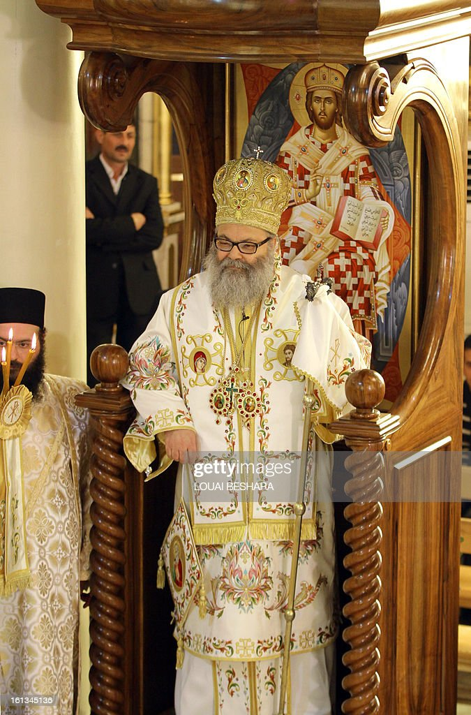 Greek Orthodox leader Yuhanna X Yazigi stands during his enthronement as the Greek Orthodox Patriarch of Antioch and All the East at the Holy Cross Church, in the Qasaa district of Damascus, on February 10, 2013. Yuhanna X Yazigi was chosen as the Patriarch of Antioch and All the East on December 17, replacing Ignatius IV Hazim who died that month. Christians make up about five percent of the population in Syria, where rebels and forces loyal to Syrian President Bashar al-Assad have been locked in a civil war the UN says has killed more than 60,000 people.