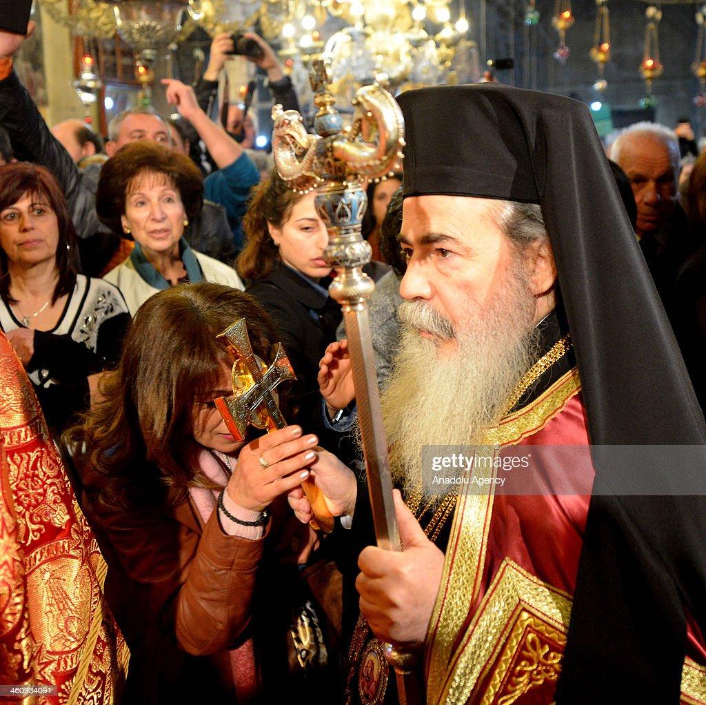 Greek Orthodox Patriarch Theophilos III celebrates the Christmas at Nativity Church in Bethlehem, West Bank on January 6, 2014.