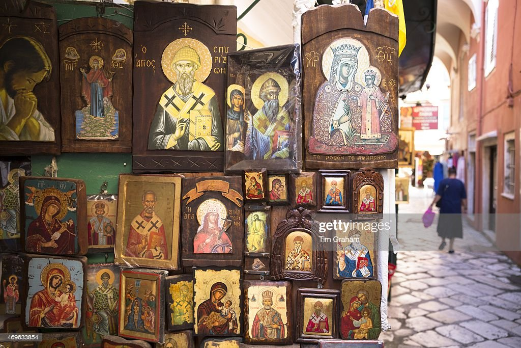 Greek Orthodox religious art icons in souvenirs and gifts shop in Kerkyra Corfu Town Greece