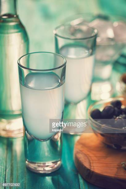 Greek Ouzo and Olives