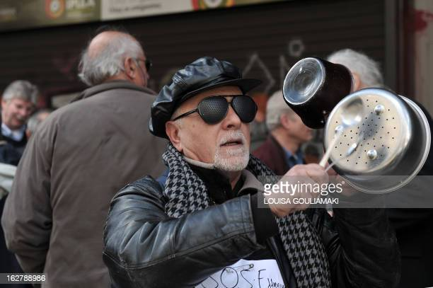 Greek pensioners demonstrate outside the labour ministry in Athens against pension's cuts and continous downgrading of the social health services on...