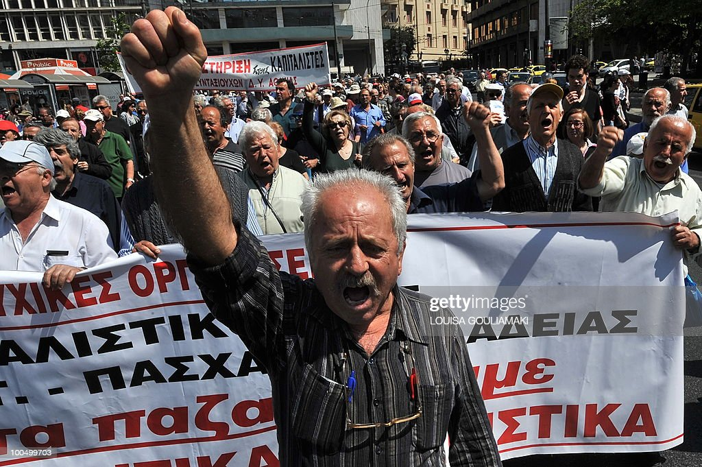 Greek pensioners march in the center of Athens on May 4, 2010 to protest against austerity measures. Demonstrators stormed the Athens Acropolis on May 4 and civil servants launched a walkout ahead of a general strike against massive austerity spending cuts. With the government demanding painful 'sacrifices' after the country secured a 110 billion euro (145 billion US dollar) debt bailout, Labor Minister Andreas Loverdos said: 'We have only one aim, to save Greece, and we are not going to budge.' AFP PHOTO / Louisa Gouliamaki
