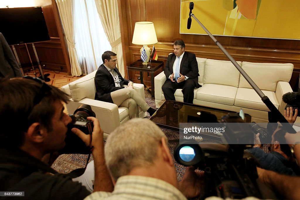 Greek PM Alexis Tsipras (L) and Sigmar Gabriel, Vice Chancellor of Germany and Minister for Economic Affairs and Energy, during their meeting, at Maximos mansion in Athens Greece, on June 30, 2016