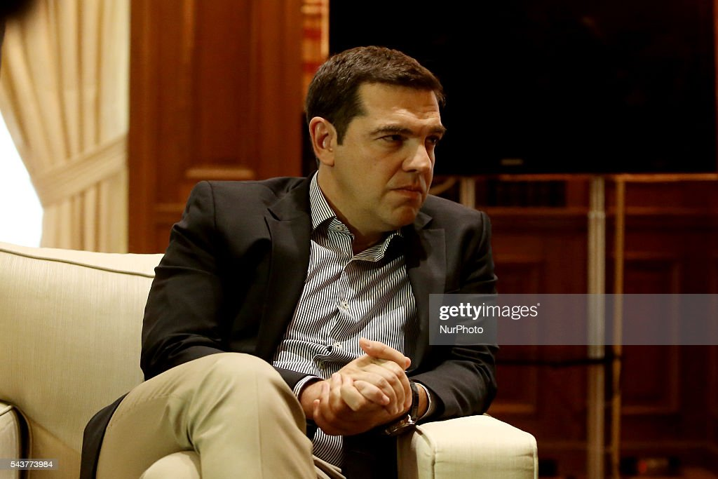 Greek PM Alexis Tsipras during his meeting with Vice Chancellor of Germany and Minister for Economic Affairs and Energy, at Maximos mansion in Athens Greece, on June 30, 2016