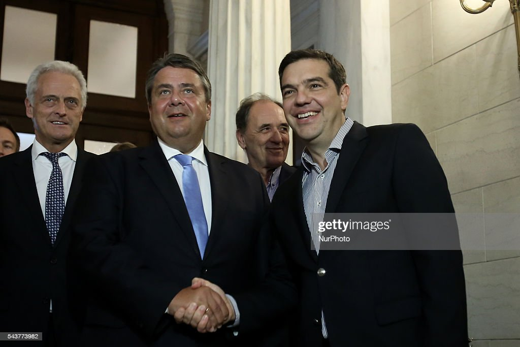 Greek PM Alexis Tsipras (R) wellcomes Sigmar Gabriel, Vice Chancellor of Germany and Minister for Economic Affairs and Energy, at Maximos mansion in Athens Greece, on June 30, 2016