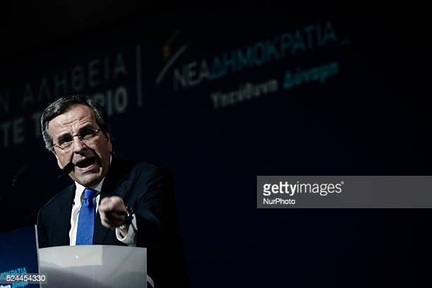 Greek PM Antonis Samaras gives his main preelection speech in Taekwondo stadium in Athens on January 23 2015 Samaras warns Greeks must shut their...