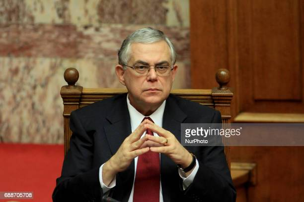 Greek PM Lucas Papademos at Parliament on November 14 2011