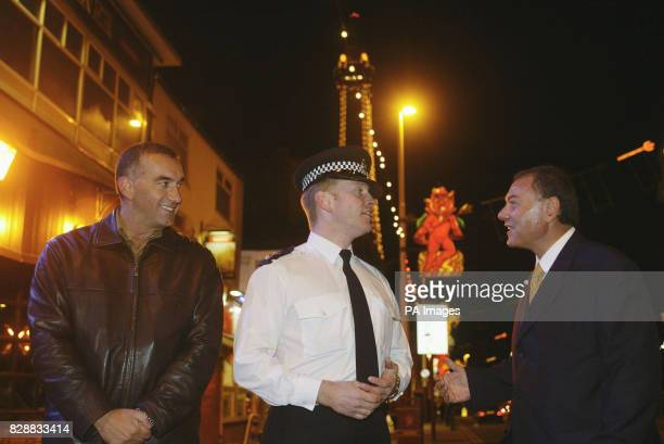 Greek Police exchange visit Blackpool Lancs First Lieutenant Themis Kalamatas RhodesFaliraki left and Elias Chalyvopoulos Chief of Police of the...