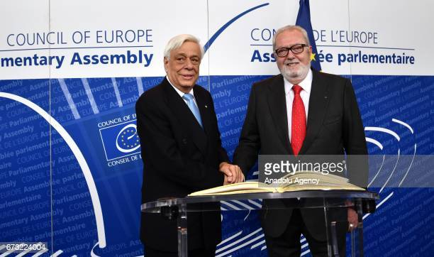 Greek President Prokopios Pavlopoulos and the President of Parliamentary Assembly of Council of Europe Pedro Agramunt hold a joint press conference...