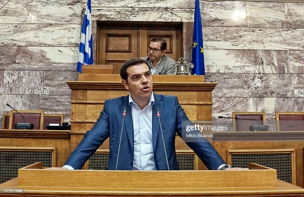 Greek Prime Minister <a gi-track='captionPersonalityLinkClicked' href=/galleries/search?phrase=Alexis+Tsipras&family=editorial&specificpeople=6592450 ng-click='$event.stopPropagation()'>Alexis Tsipras</a> addresses his party members and ministers at the Greek Parliament on June 16, 2015 in Athens, Greece. The European Commission has said that Greece and its international creditors need to come to an agreement within the next 2 weeks to avoid a possible default, after weekend talks collapsed.