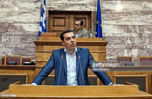 Greek Prime Minister Alexis Tsipras addresses his party members and ministers at the Greek Parliament on June 16 2015 in Athens Greece The European...