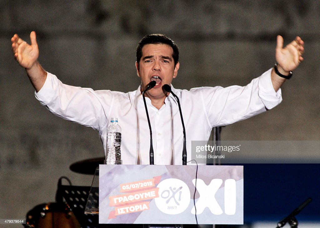 Greek Prime Minister <a gi-track='captionPersonalityLinkClicked' href=/galleries/search?phrase=Alexis+Tsipras&family=editorial&specificpeople=6592450 ng-click='$event.stopPropagation()'>Alexis Tsipras</a> addresses his supporters during the 'No' campaign rally in Syntagma Square in preparation for Sunday's referendum on July 3, 2015 in Athens, Greece. The 'Yes' and 'No' supporters in Greece are holding major rallies in Athens today ahead of Sunday's referendum on an international bailout terms.