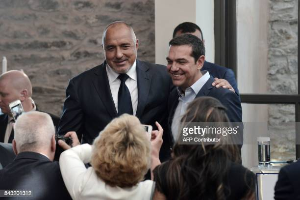 Greek Prime Minister Alexis Tsipras and his Bulgarian counterpart Boyko Borissov are pictured following the signing of a bilateral agreement to speed...