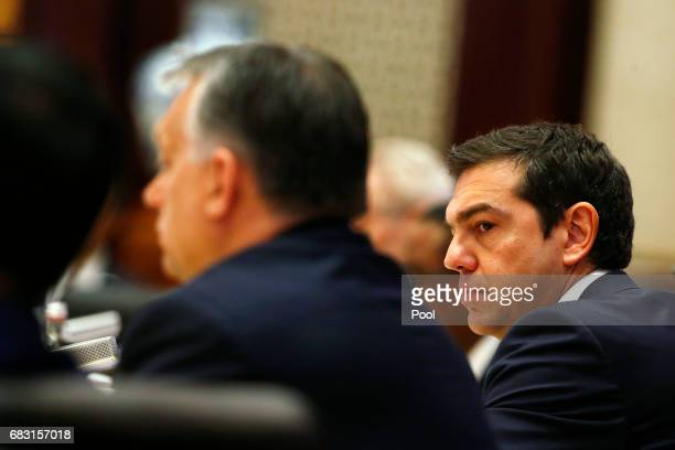 Greek Prime Minister Alexis Tsipras and Hungarian Prime Minister Viktor Orban attend a summit at the Belt and Road Forum on May 15 2017 in Beijing...