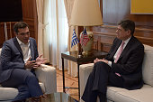 MANSION ATHENS ATTIKI GREECE Greek Prime Minister Alexis Tsipras and Jacob Joseph 'Jack Lew American government administrator and attorney who is the...