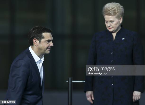 Greek Prime Minister Alexis Tsipras and Lithuanian President Dalia Grybauskaite attend a family photo shooting along with other leaders during the...