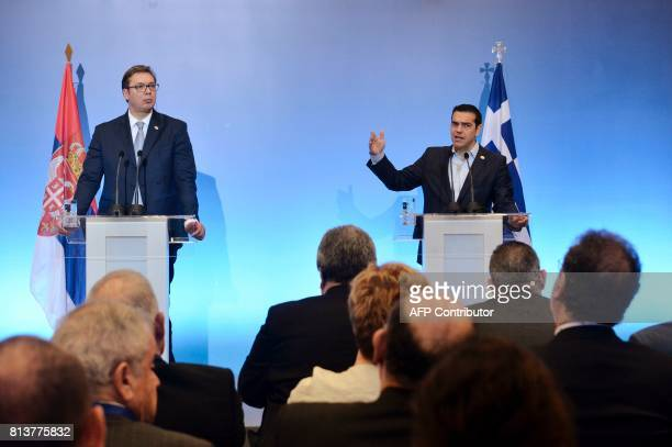 Greek Prime Minister Alexis Tsipras and Serbian President Aleksandar Vucic give a press conference during the GreekSerbian HighLevel Cooperation...