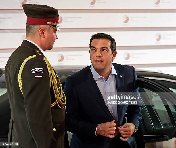 Greek Prime Minister Alexis Tsipras arrives at the House of the Blackhead for an informal dinner at the start of the fourth European Union eastern...