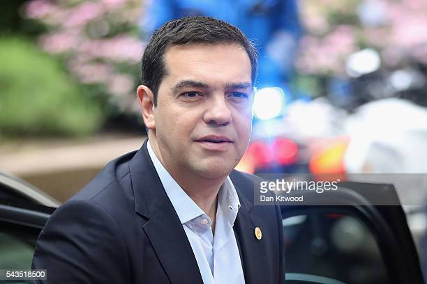 Greek Prime Minister Alexis Tsipras attends a second day of European Council meetings at the Council of the European Union building on June 29 2016...